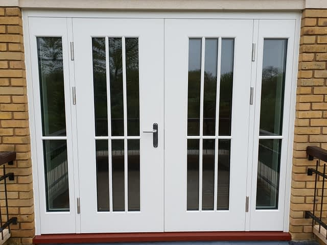 double leaf high security doors with glass
